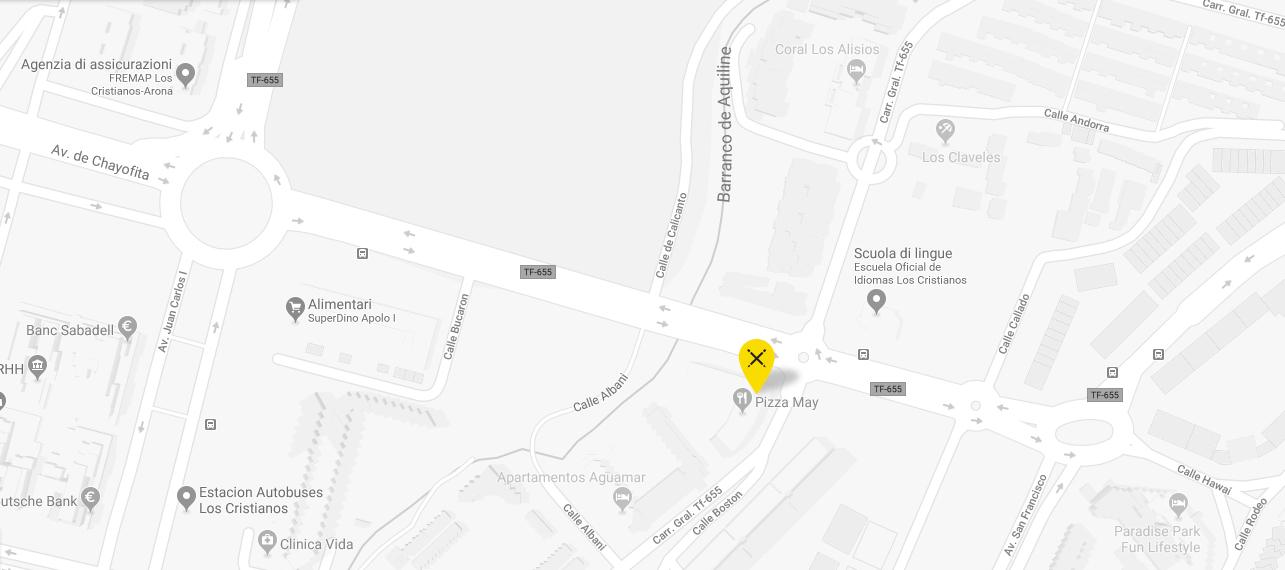 mapa con pin de la agencia
